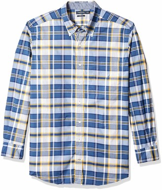 Nautica Men's Tall Classic Fit Long Sleeve Plaid Poplin Button Down Shirt