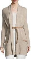 Rani Arabella Long Cashmere Cardigan w/Leather Trim, Sand