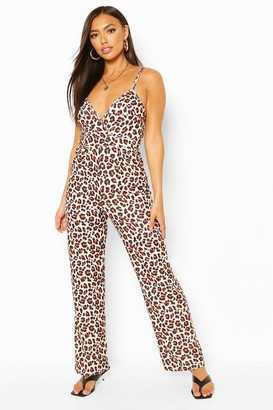 boohoo Leopard Print Tie Back Strappy Jumpsuit