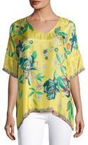 Johnny Was Nancy Floral-Print Silk Habutai Top, Plus Size