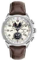 Seiko Stainless Steel & Leather Strap Chronograph Watch