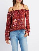 Charlotte Russe Floral Cold Shoulder Button-Up Top