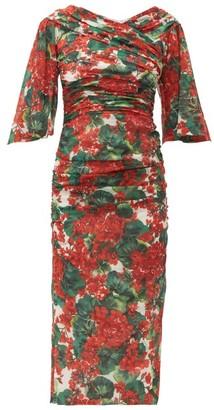 Dolce & Gabbana Ruched Geranium-print Silk-blend Midi Dress - Womens - Red Multi