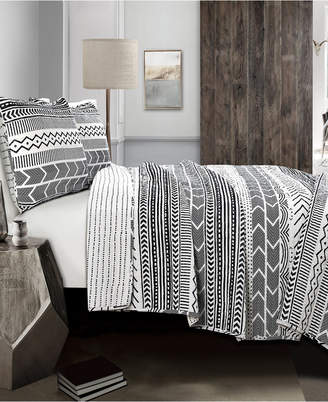 Lush Decor Hygge Geo Taupe 3-Pc Set King Quilt Set