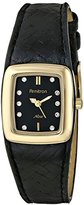 Swarovski Armitron Women's 75/5089BKGPBK Crystal Accented Gold-Tone Black Woven Leather Strap Watch