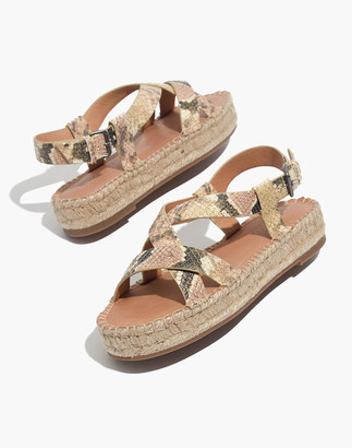 Madewell The Malia Espadrille Sandal in Snake Embossed Leather
