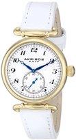 Akribos XXIV Women's AK704WT Impeccable Swiss Quartz Gold-tone Stainless Steel White Leather Strap Watch