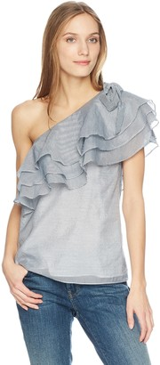 C/Meo Women's Sanctum Stripe One Shoulder Ruffle Top