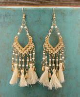 Besheek BeSheek Women's Earrings WHITE - Goldtone & White Three-Tassel Chandelier Drop Earrings