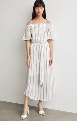 BCBGMAXAZRIA Metallic Stripe Midi Dress