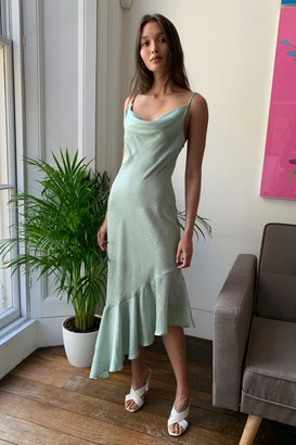 Nasty Gal Womens Take Thing's Flow Satin Midi Dress - Green - 8, Green