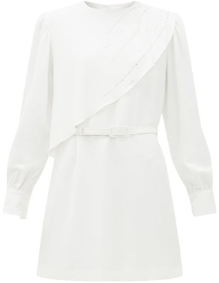 MSGM Crystal-embellished Waterfall-panel Crepe Dress - Womens - Ivory