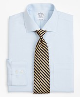 Brooks Brothers Stretch Regent Fitted Dress Shirt, Non-Iron Twill English Collar Micro-Check