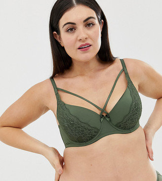 Dorina Plus Size Blair lace t-shirt bra with strapping in khaki