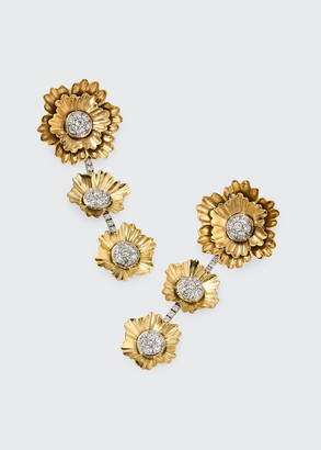 Irene Neuwirth 18k Yellow Gold and White Gold 3-Flower Drop Earrings
