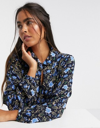Y.A.S ruffle hem shirt in floral print