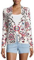 Alice + Olivia Juliet Floral Embroidered Jacket, White/Multicolor