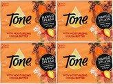 Tone Bath Bars Cocoa Butter Mango Splash, 4.25 Oz, 2 Count, (Pack of 4) 8 Bars Total