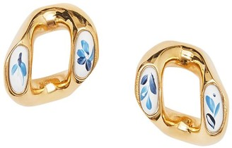Burberry Porcelain Detail Chain-Link Earrings
