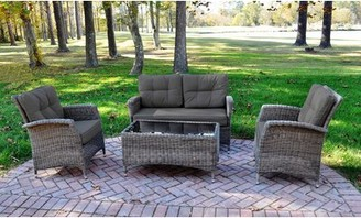 Evatt 4 Piece Rattan Sunbrella Sofa Set with Cushions August Grove Cushion Color: Canvas Coal