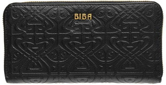 Biba Slip Pocket Emboss Zip Around Leather Purse