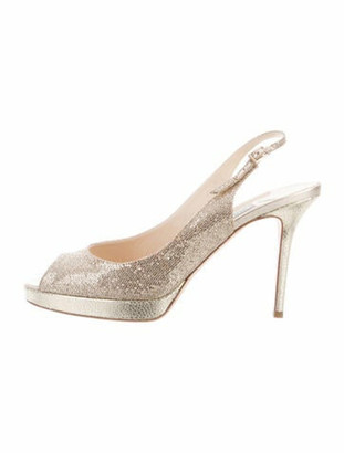 Jimmy Choo Leather Glitter Accents Slingback Pumps Gold