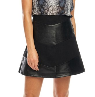 Fluid Womens PU Chevron Skirt Black