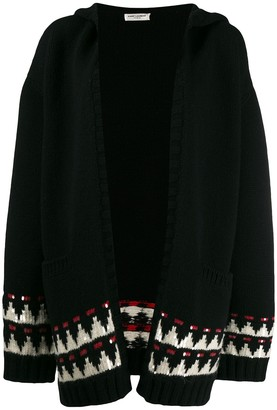 Saint Laurent Hooded Intarsia Cardigan