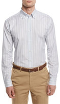 Brioni Striped Sport Shirt, Light Blue/Tan