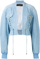 Balmain cropped denim bomber - women - Cotton/Spandex/Elastane/Viscose - 36