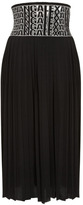 Alexander Wang High Waisted Pleated Skirt With Logo Eyelet Embroidery