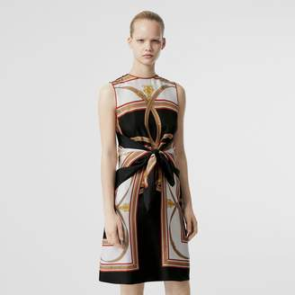Burberry Archive Scarf Print Silk Dress with Detachable Scarf