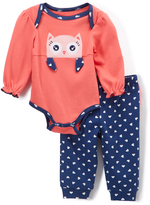 Buster Brown Medieval Blue & Calypso Coral Owl Bodysuit & Joggers - Infant
