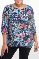 NYDJ Bountiful Gardens Print 3/4 Sleeve Blouse In Plus