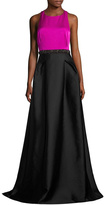 Monique Lhuillier Fuchsia And Black Gown