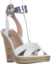 Charles David Charles Brit Wedge Sandals, White/Silver, 7.5 US