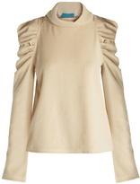 MiH Jeans Spider ruched-shoulder cotton-blend sweater