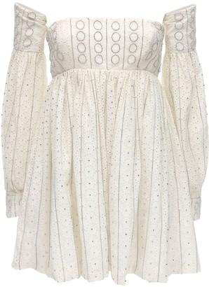 Amen Embellished Eyelet Lace Mini Dress