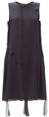 Maison Margiela Raw-edged Chiffon-trim Crepe Dress - Navy