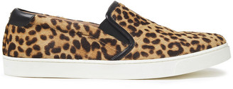 Gianvito Rossi Venice Leather-trimmed Leopard-print Calf Hair Slip-on Sneakers