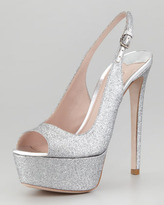 Miu Miu Glitter Platform Slingback Pump, Silver