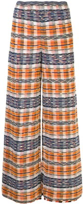 M Missoni Check Print Wide Leg Trousers