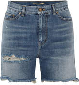 Saint Laurent Distressed Denim Shorts - Indigo