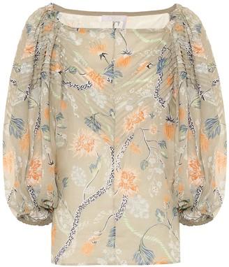 Chloã© Floral ramie off-shoulder blouse