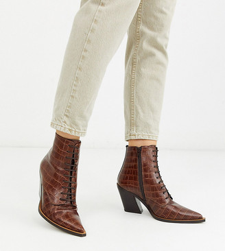 Asos DESIGN Wide Fit Redwood premium leather western lace up boots in brown