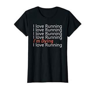Womens Running T-Shirt For Women Runners I Love Running Tee