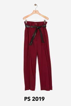 3.1 Phillip Lim Cropped Belted Bag-Waist Wool Pant