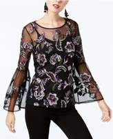 INC International Concepts Embroidered Sheer Bell-Sleeve Top, Created for Macy's