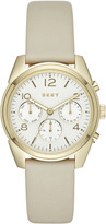 DKNY Crosby Grey Leather And Gold-Tone Chronograph Watch