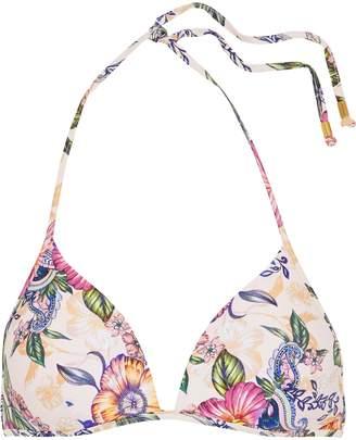 Jets Elegance Floral-print Triangle Bikini Top